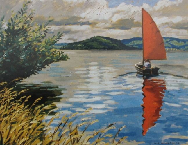 The Red Sail by Bill MacCormick for Sale - New Zealand Art Prints