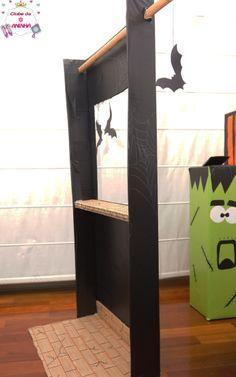 Cabine de fotos. Feita com material reciclado. Para decorar e animar as crianças nas festas do Dia das Bruxas (Halloween). Decoração para crianças.   #manualidades #diy #artesanato #handcraft #halloween #diadasbruxas