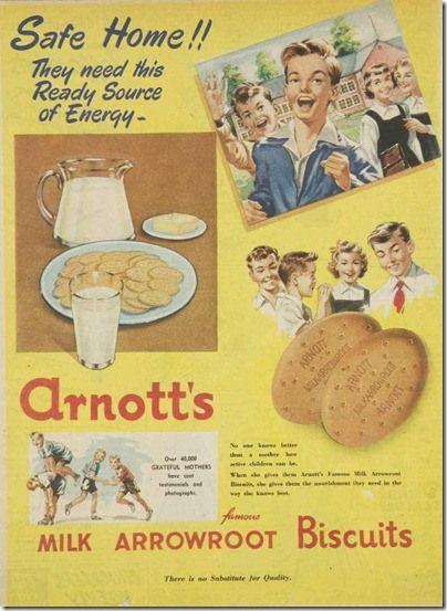 Arnott's arrowroot biscuits ad, Women's Weekly, 1955