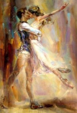 Awesome dancing couple art by Anna Razumovskaya..