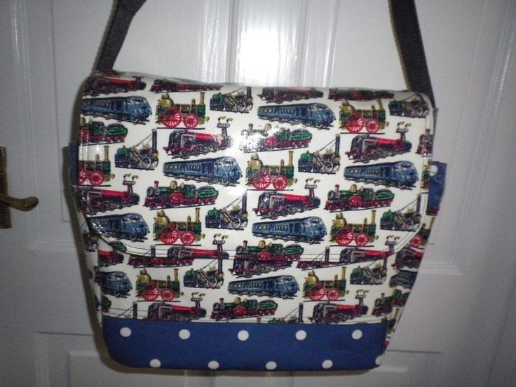 NEW VERSION CHANGING BAG MADE WITH CATH KIDSTON TRAINS & DENIM BLUE SPOT