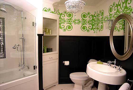 Green minimalist bathroom wall decals