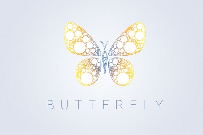 """Vector logotype """"Butterfly"""" with cosmic patterns. Good as logo, perfect as…"""