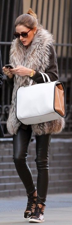 olivia palermo. j'adore. fur + leather kills it. & she might be the only person in the world who can pull off wedge sneakers successfully.
