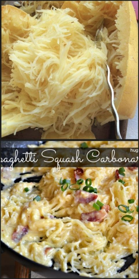Spaghetti squash carbonara CHANGES I MADE: I added grilled chicken & next time I will only do 1 tsp salt. I had to add a few more tablespoons broth but it was reeallly good! Also side note; I cook my spaghetti squash in the microwave. I cut in half, spoon out seeds, put 1/2 on plate inside facing down the cook 6-8 min. Scrape with fork when done :)