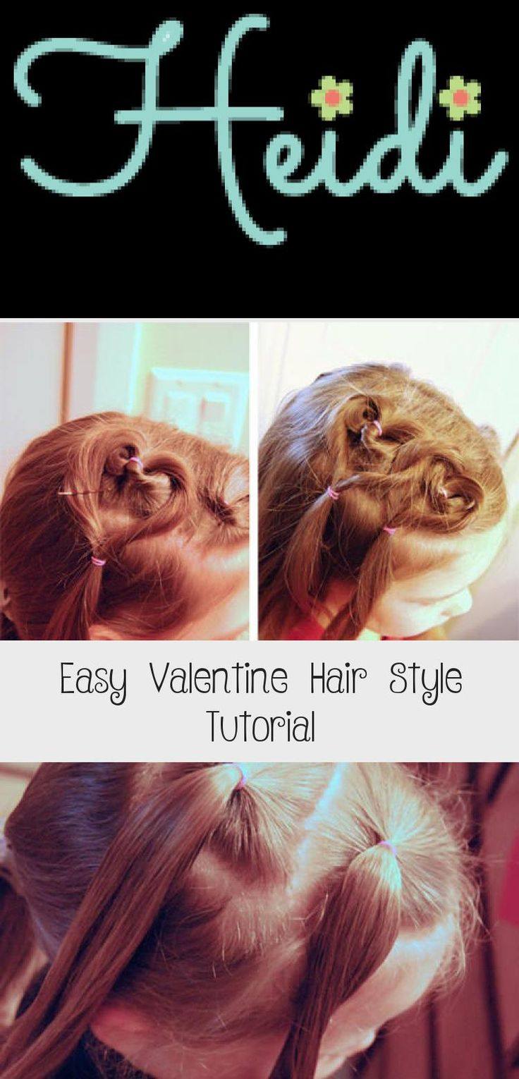 Create this easy Valentine hair style in ten minutes or less! I'll show you how. OneCreativeMommy.com #valentinehair #hearthair #hairstyles #babyhairstylesWithRubberbands #babyhairstylesHalfUp #babyhairstylesCornrows #babyhairstylesKorean #babyhairstylesMohawk