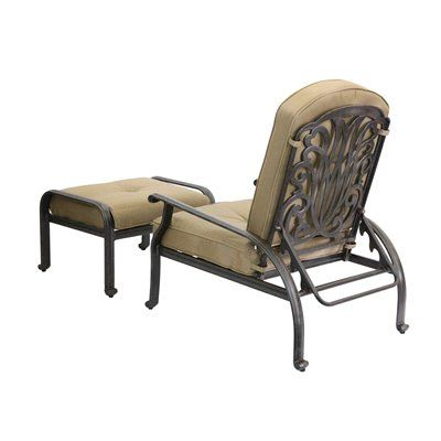 Darlee Elisabeth Outdoor Adjustable Club Chair And Ottoman With Cushions