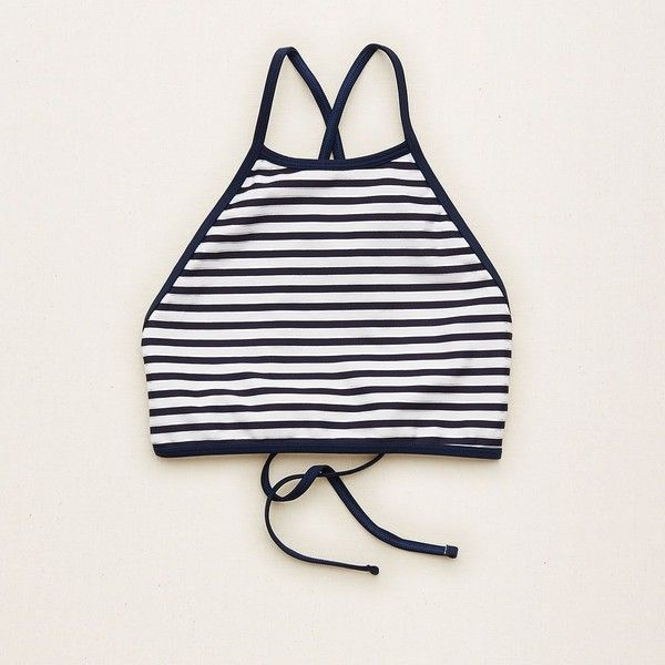 Aerie Hi-Neck Crop Bikini Top ($35) ❤ liked on Polyvore featuring swimwear, bikinis, bikini tops, swim crop top, strappy bikini, swim tops, navy blue bikini top and strappy swimsuit top