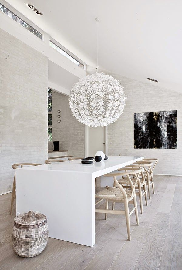 COCOCOZY: MULTI LEVEL DANISH HOUSE Dining Room I Like: Chairs, chandelier, flooring