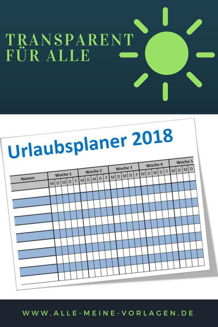 Der einfache Urlaubsplaner 2018 / einfache Ferienplaner 2018 ist eine Excel-Vorlage mit der du die Urlaubstage oder auch Abwesenheitstage von bis zu 11 Mitarbeitern oder Arbeitskollegen darstellen und verwalten kannst.