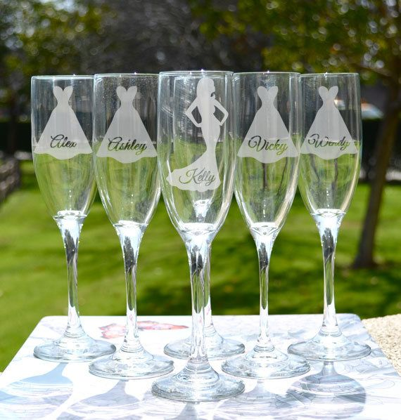 Bridesmaid Gift - Personalized Toasting Glasses (x1) - Glass Champagne Flutes - Custom Champagne Glass - Wedding Gift on Etsy, $14.95