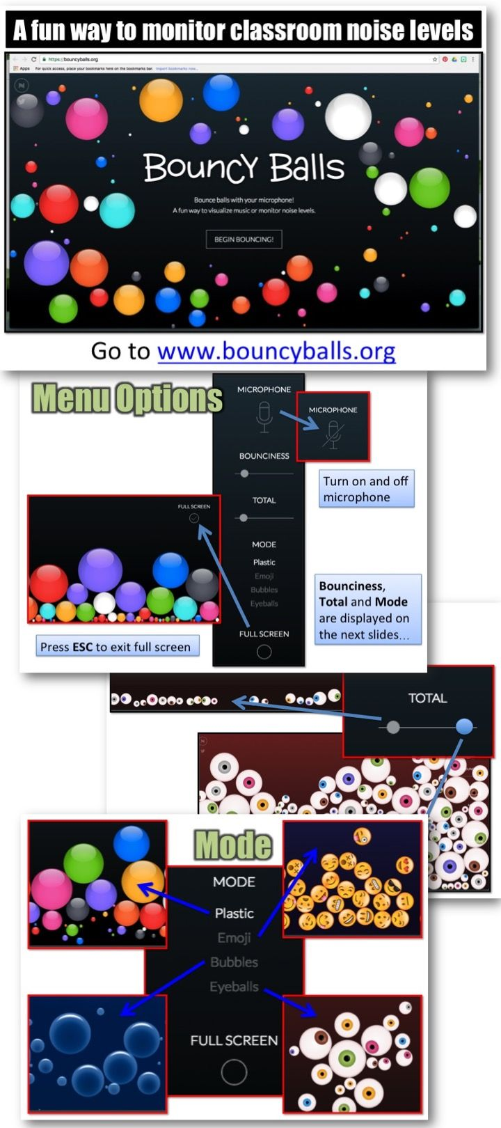 Use this website as a fun way to monitor classroom noise levels!   Show this website with the use of a projector to your students as they are working.  The balls bounce higher as the volume of the classroom increases, giving students a visual indicator to lower their voices.