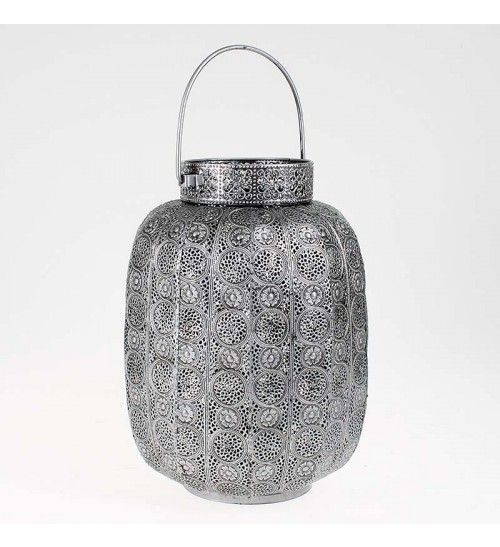 METAL LANTERN IN SILVER COLOR 21X34