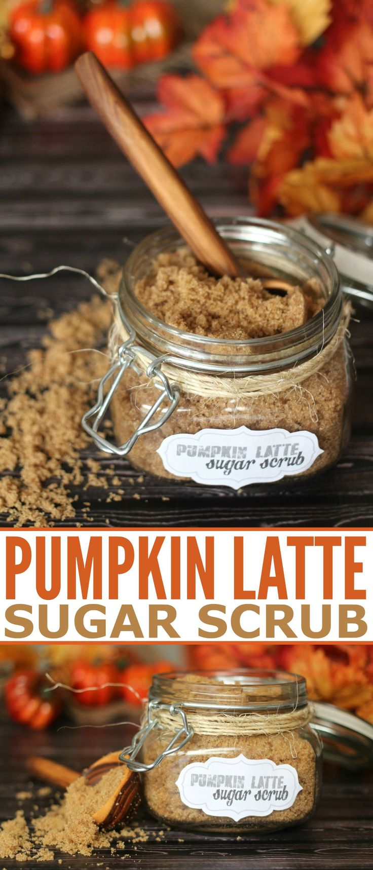 This Pumpkin Latte Sugar Scrub Recipe is a great way to bring in your fall beauty routine + get a Free Printable Label!