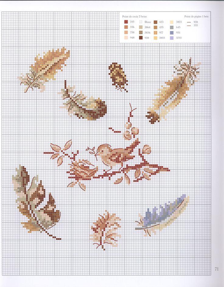 0 point de croix grille et couleurs de fils petit oiseau et plumes - cross stitch little bird and feathers