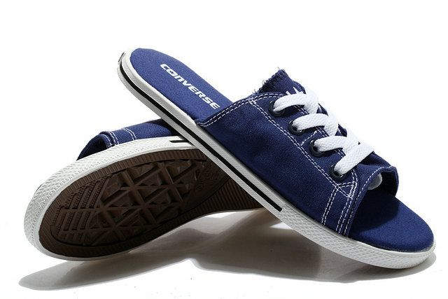 5dfde5bf370  converse Summer Mens Converse Cutaway Slide Sandals EVO All Star Slippers  Low Navy