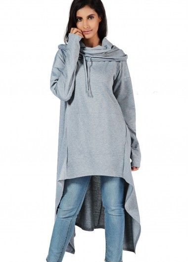 Grey Pocket Design Asymmetric Hem Sweatshirt on sale only US$33.32 now, buy cheap Grey Pocket Design Asymmetric Hem Sweatshirt at lulugal.com
