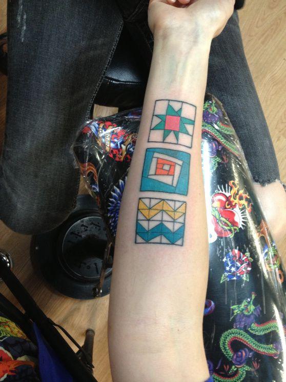 unknown; True Blue Tattoo, Austin TX USA. modern quilting tattoo, yes. | geometric craft