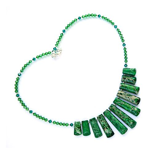 Intensely green jasper and corresponding Swarovski Bicone Crystals. A striking encklace, one of a kind.