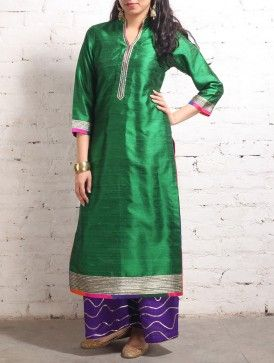 Emerald Gota Work Raw-Silk Tunic