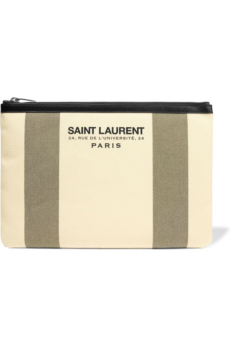 yves saint laurent beach leather-trimmed canvas tote