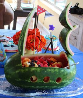 Instructions for how to create a watermelon pirate ship for a kids' pirate party; pirate party ideas