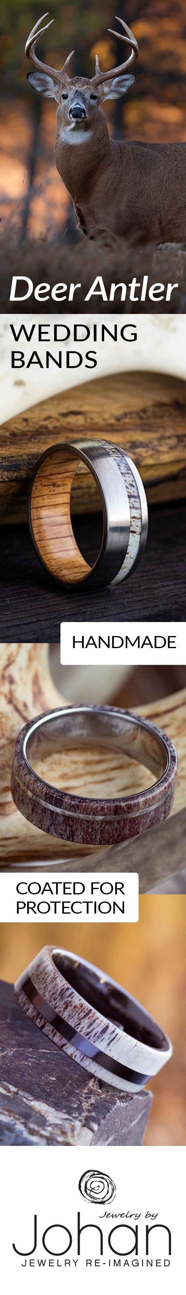 Shop our selection of antler rings and camo rings. Perfect for an avid deer hunter or any outdoorsman. Use one of our naturally shed deer antlers, or send us one of your own to use in your wedding band!