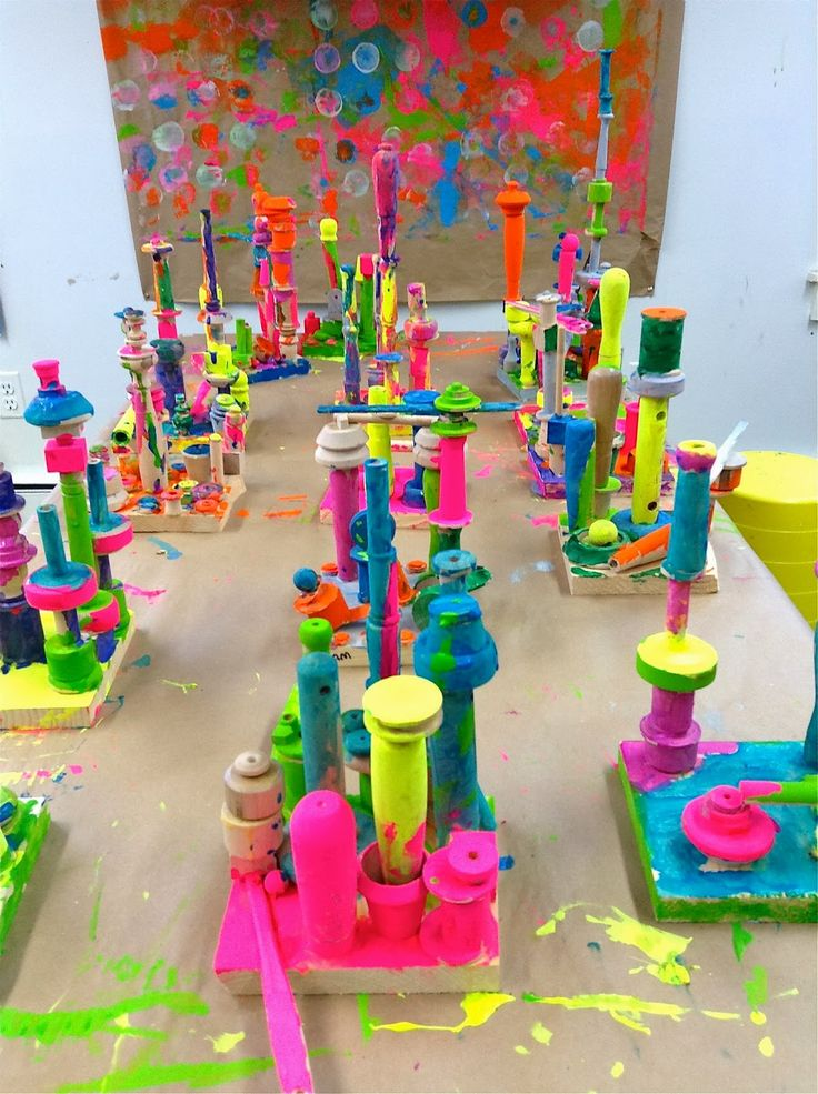 Spring Preschool Art Activities Brightly Painted Stacked