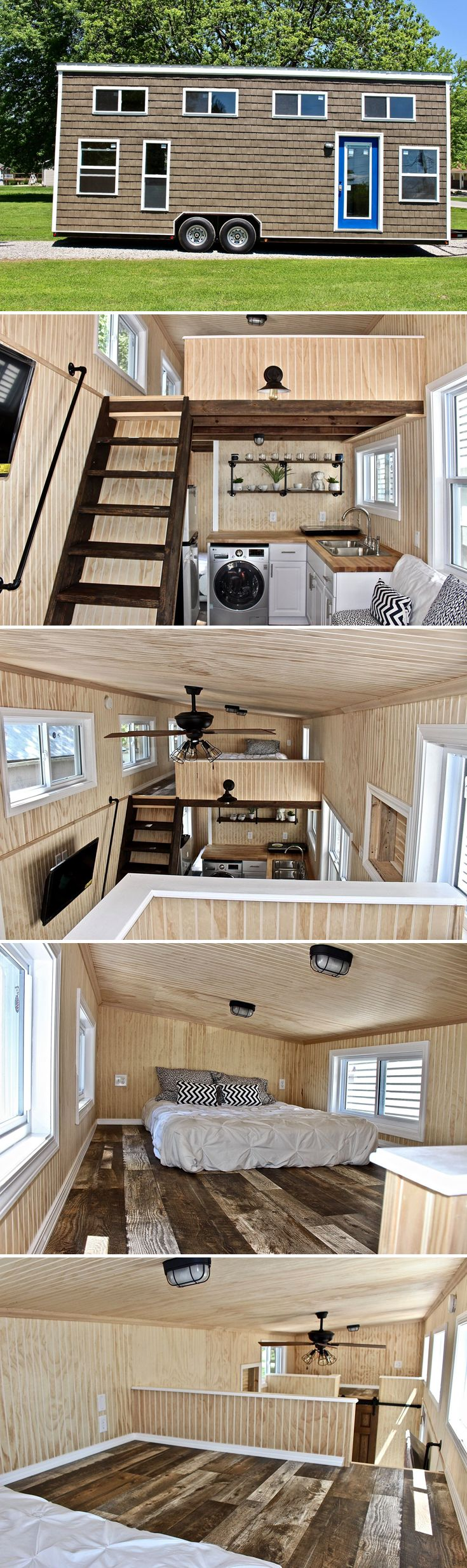 The 28' Chalet Shack was built by Mini Mansions and includes three sleeping areas, including a main floor bedroom, a king size loft, and a twin loft.