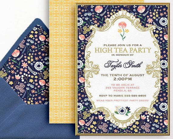 Best 25 kitchen tea invitations ideas on pinterest simple high tea invitation tea party bridal shower birthday 30th 40th 50th 60th 70th 80th blue flowers stopboris Choice Image