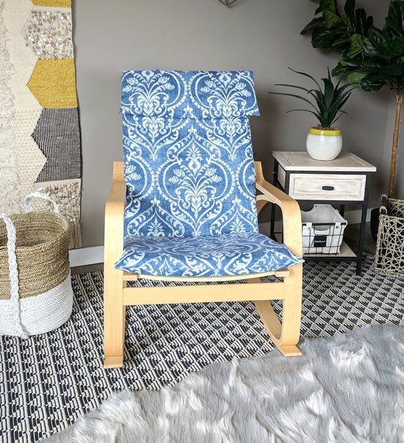 Blue Denim Damask Ikea Poang Chair Cover Floral Ikea Seat Cover