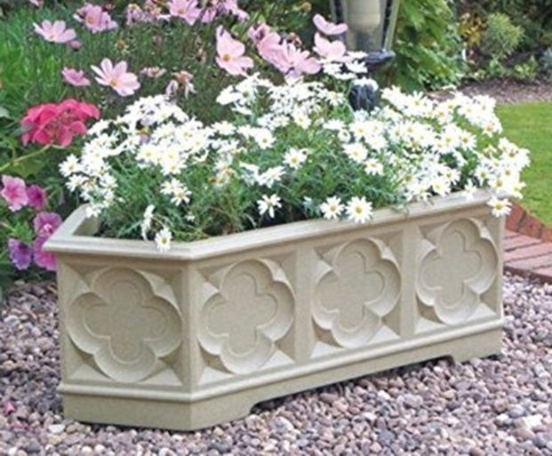 Large Trough Planter Flower Plant Pot White Stone Effect Garden Patio