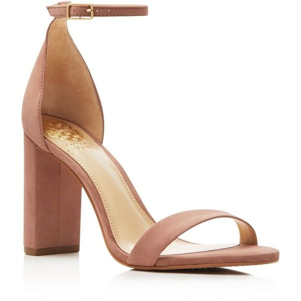 Vince Camuto Mairana Ankle Strap High Heel Sandals (150 CAD) ❤ liked on Polyvore featuring shoes, sandals, pink, ankle tie sandals, pink suede shoes, pink sandals, ankle strap shoes and block heel sandals