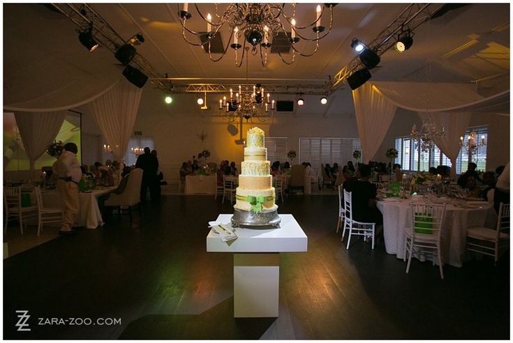 Grand 5-tiered cake?  Why not put it on display in the middle of the dancefloor to show it off?  See more of this wedding on the ZaraZoo website. http://www.zara-zoo.com/blog/val-de-vie-wedding-photos/