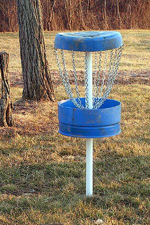 Homemade disc golf cage - 55 gallon drum, pvc pipe, chains