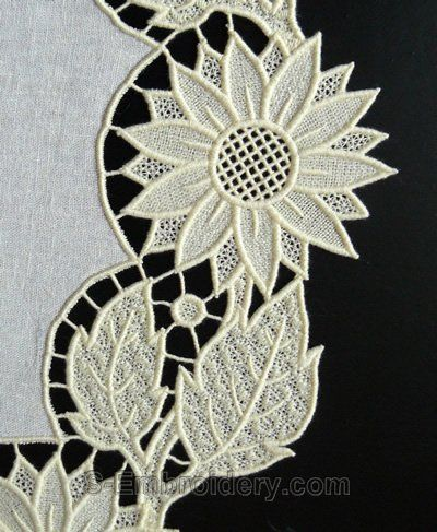 Sunflower freestanding lace machine embroidery design