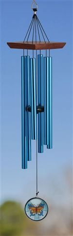 Square Wood Chime Glass #Butterfly 28 inch.  Wood Toppers & Glass & Metal Paddles Hand-Tuned.  #winchime #windchimes