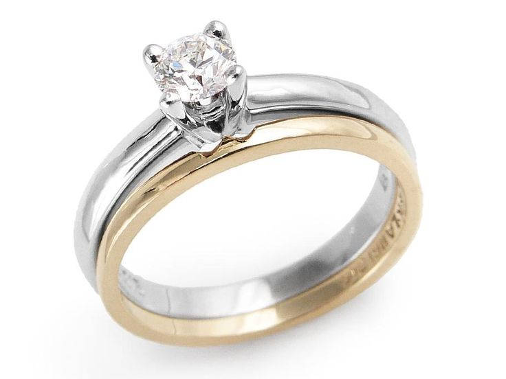 Diamond set on 4-prong setting on dome shaped band. Diamond weight: .30ctClarity: SI1, Color: GGold: 14 karat