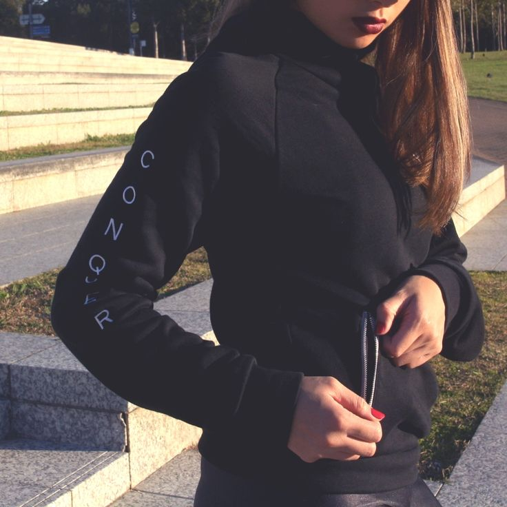 CONQUER cowl neck hoodie with zip pockets. Made of premium terry fabric that is sweat-wicking, durable and warm. Shop our womens motivational fitness clothing and lift, run, stretch and CONQUER in gym wear with meaning.