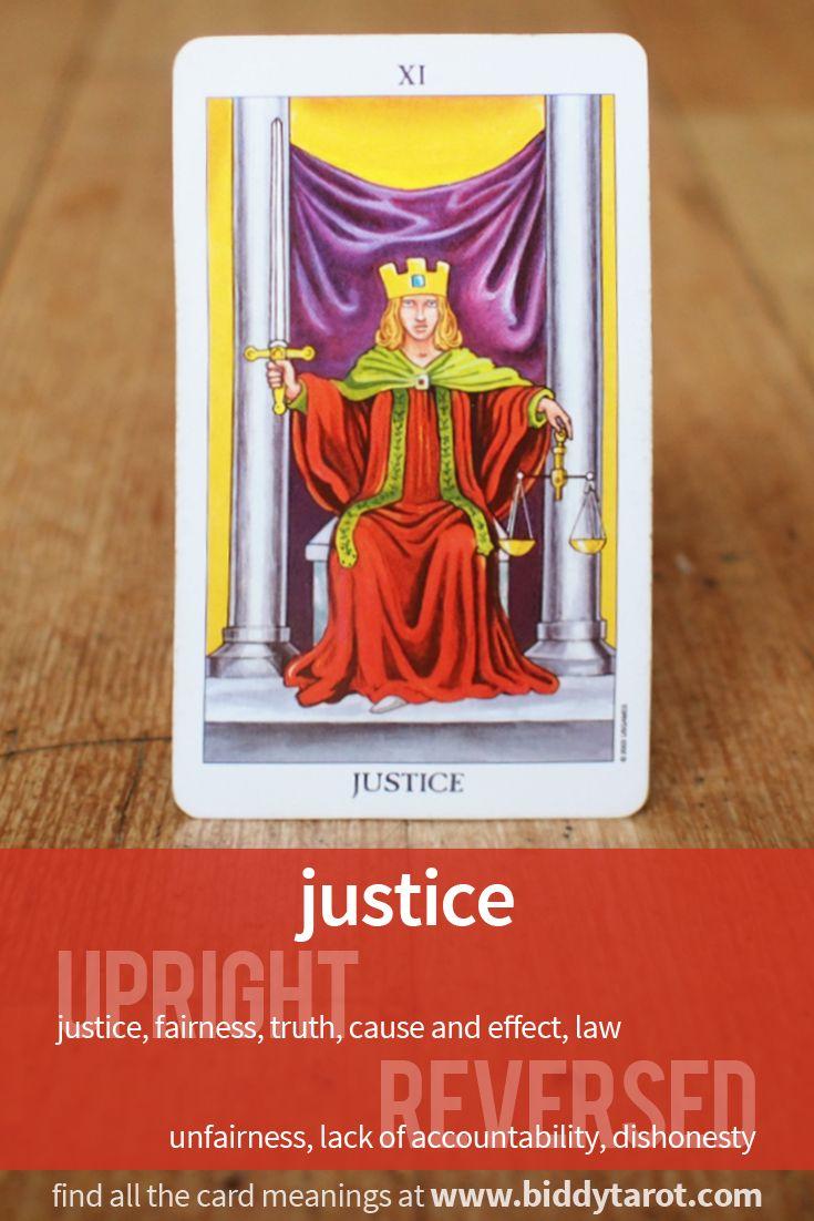 """Major Arcana Card """"Justice""""  #tarotcardmeaning learn more at http://www.biddytarot.com/tarot-card-meanings/major-arcana/justice/"""