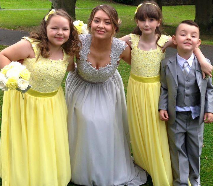 Yellow grey lemon bridesmaid flower girls pageboys wedding
