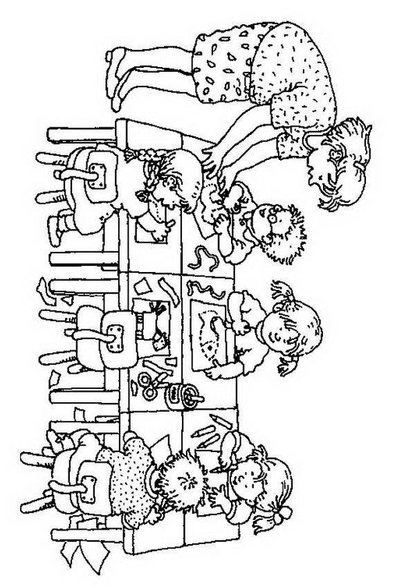 kleurplaat Knutselen in de groep Kids-n-Fun