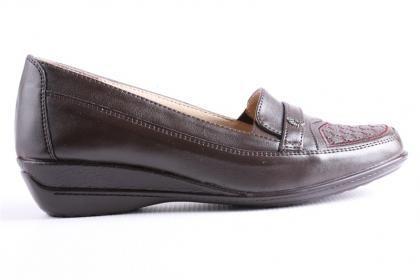 Edik Kadın Kahverengi İç Yüzeyi Deri Tam Ortopedik Günlük Ayakkabı