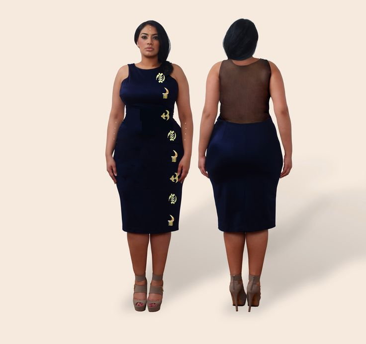 """Re-imagine the """"Little Black Dress"""" with us. This season we present our sleeveless, stretch, knee-length pencil dress with a lined sheer mesh back -creating the illusion of a sheer back while allowing you the option to wear a bra. This bombshell dress features gold Adinkra embossment pattern along the right side and left-side zipper closure. Fabrication: 80% Spandex/ 20% NylonSizes: Small-3XColor Options: Black Onyx, 80s Fuchsia Glam, Capri Teal, Tuscan Olive. ..."""