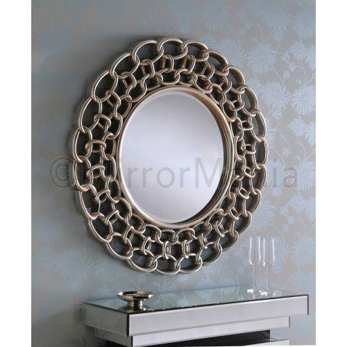 Katarina Linked Aged Silver Mirror