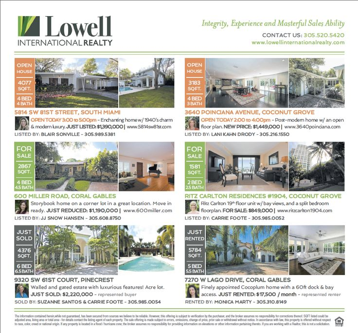 You're invited to two Open Houses today with Lowell International Realty! Join Lani Kahn Drody from 2 - 4 PM in an alluring post-modern minimalist home with an open floor plan. For more information, visit: www.3640poinciana.com. Join Blair Sonville from 3 - 5 PM in an enchanting home with 1940's charm and modern luxury. For more information, visit: www.5814sw81st.com.