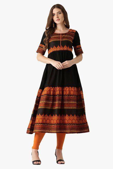 96a57d45108 Libas Black Printed Cotton Anarkali Kurta