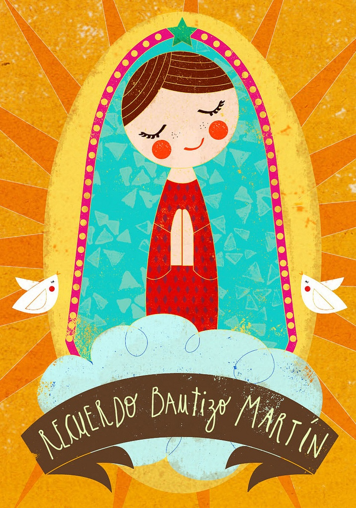 """bautizo"" by Maca López Godoy // 'I made this santito for Martin, which is a graphic reminder of the day of his baptism, is a die cutten design, onceready,I will upload photos'"