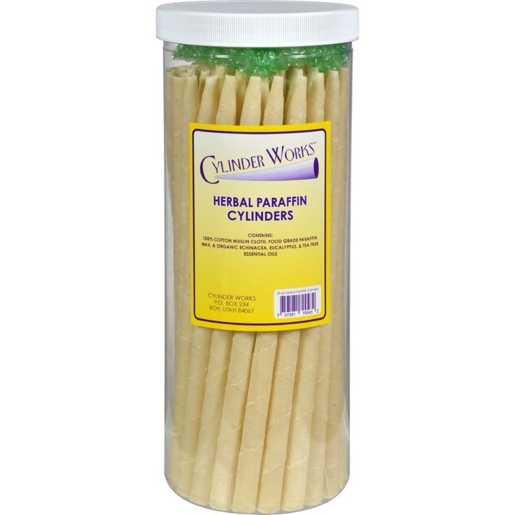 Cylinder Works Paraffin Candles - Herbal - 50 Pack - Since 1978 Cylinder Works uses food grade quality paraffin and white paraffin wax. Thick paraffin candles available upon request in bulk quantities only.Ingredients: 100% Non-GMO Cotton Muslin Cloth, 100% Food Grade Paraffin Wax, Echinacea, Tee Tree And Eucalyptus (All Certified Organics Essential Oils) . Organic: NA Gluten Free: No Dairy Free: No Yeast Free: No Wheat Free: No Vegan: No Kosher: No GMO Free: NA Summer Melt Risk? No Country…