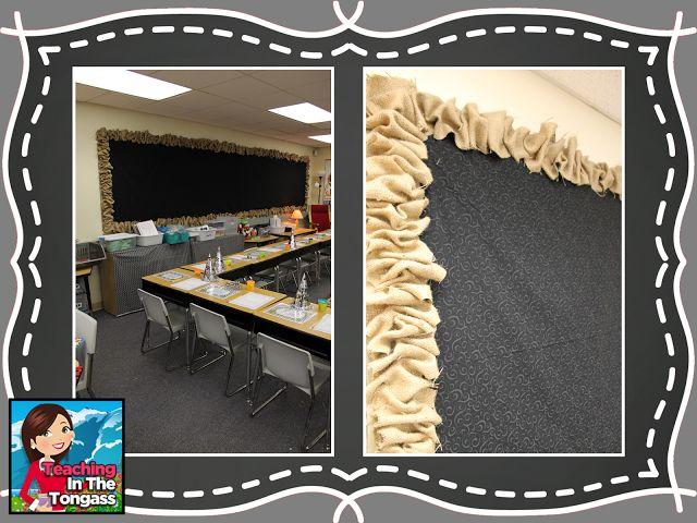 Classroom Chalkboard Decor : Burlap and chalkboard bulletin classroom decor